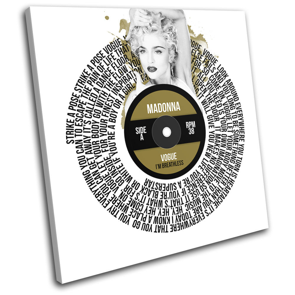 Madonna Vogue Record Vinyl Vinyl Vinyl Song Lyric Canvas Wall Art Picture Print 8f37eb