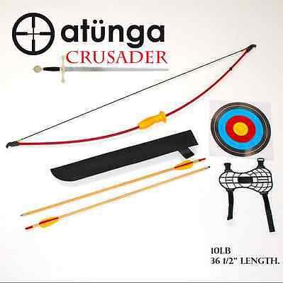 NEW Kids CRUSADER 10lb Sml Longbow Archery Set Target Atunga Bow sport medieval