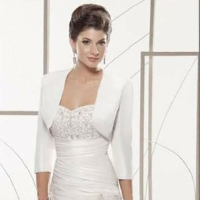 Details About New White Ivory Satin 3 4 Sleeve Wedding Jackets Bridal Bolero Shrug Coat