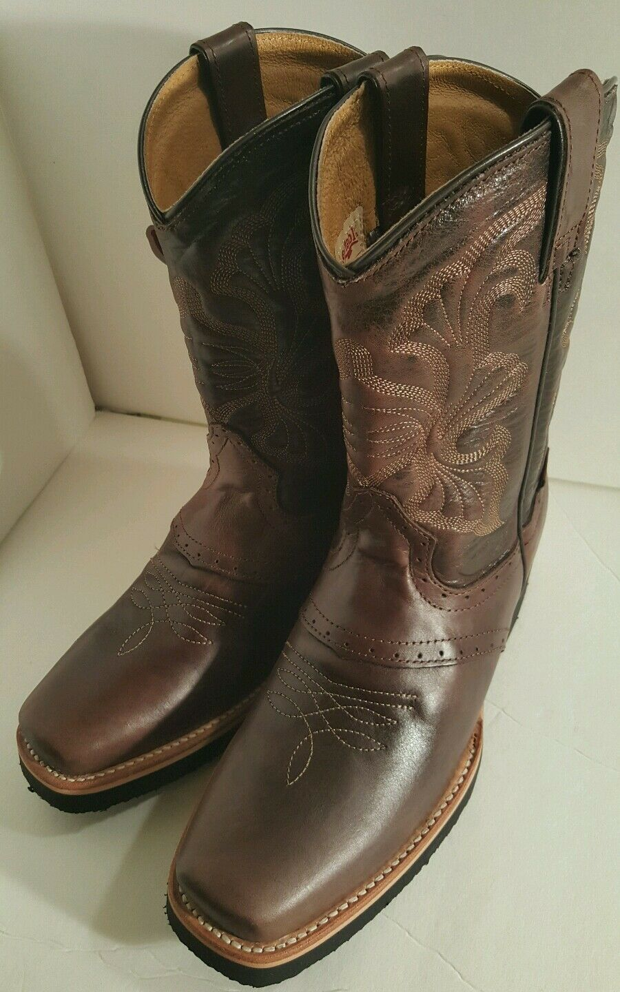 Men's cowboy western boots Genuine Cowhide Leather square toe rodeo brown 7.5