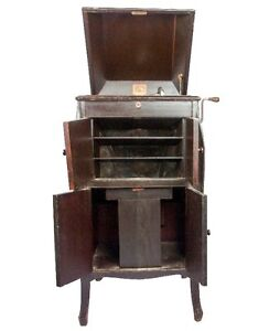 Image Is Loading Vintage Hmv 161 Antique True Cabinet Phonograph Music