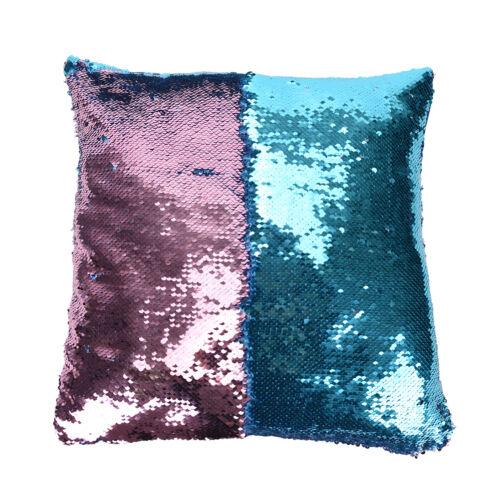 Reversible Mermaid Cushion Glitter Cover Double Color Pillow Case Decor FOUIK