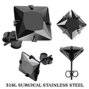 Black-Stainless-Steel-SQUARE-Cz-Stud-Earrings-Circle-Single-Pair-Mens-boys-K43