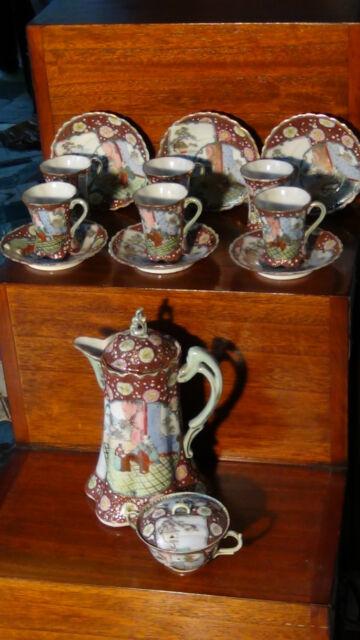 ANTIQUE JAPANESE PORCELAIN KUTANI 14 PIECES COFFEE,TEA SET.MARKED ON BOTTOM.