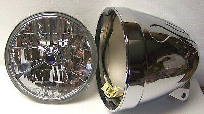 Adjure T70703 7 Pie Cut Blue Dot Tri-Bar Motorcycle Headlight with H4 Bulb
