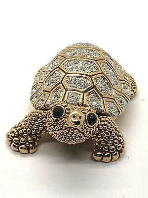 Wow Crystal Jeweled Turtle Tortoise Trinket Box Magnet Gold Clear Bling Ebay