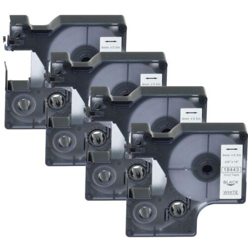 """4PK 18443 Black on White Vinyl Label 3//8/"""" for DYMO RHINO 4200 5200 6000 Printer"""