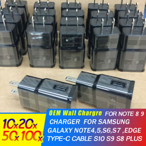 OEM-Galaxy-S9-S8-Fast-charging-wall-adapter-chager-for-Type-C-Micro-Cable-Lot