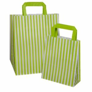 RED  Candy Stripe Flat Handle SOS Bags  Birthday Party Paper Gift Bag