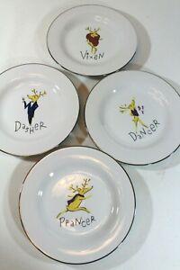 Pottery Barn Christmas Reindeer Dinner Plates 4 Dasher Dancer Prancer Vixen NIB