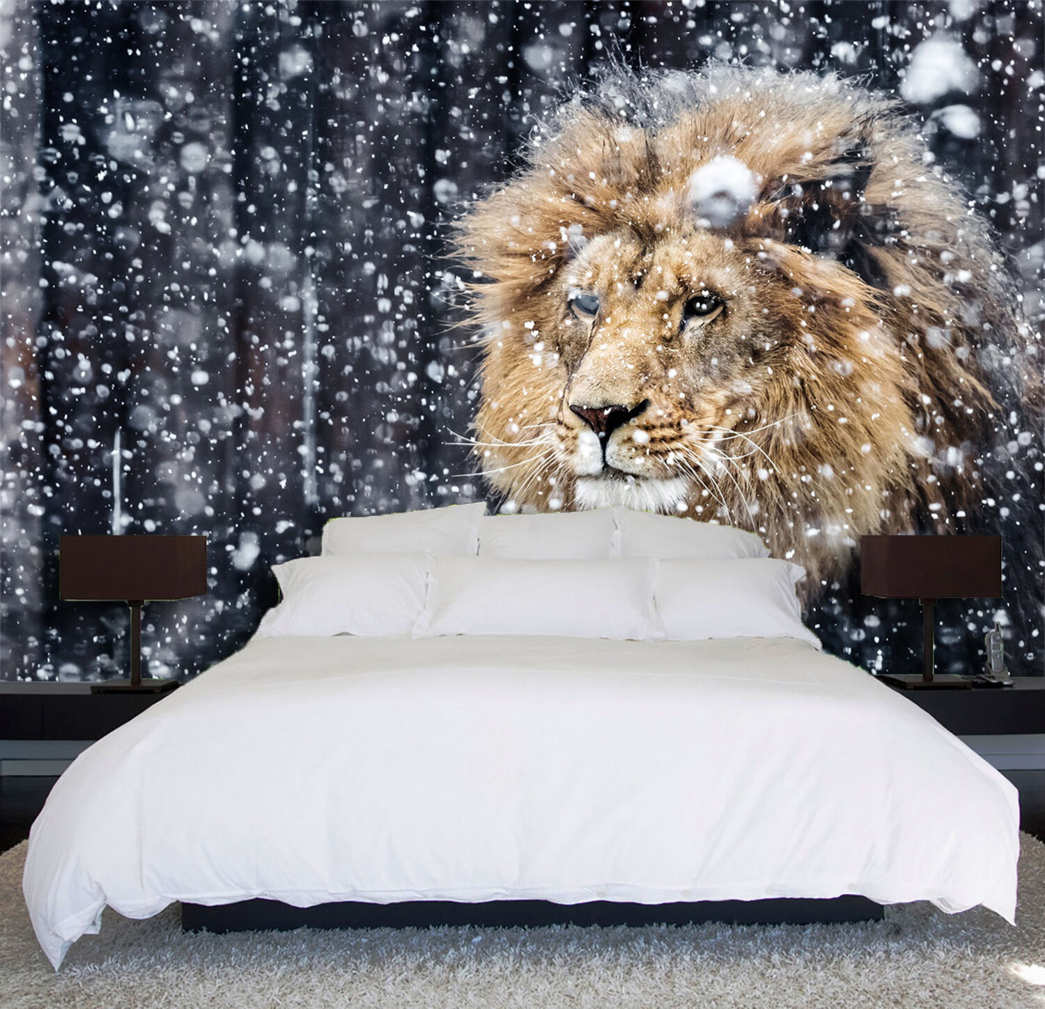 3D Snowflakes, lion Wall Paper Print Wall Decal Deco Indoor Wall Murals