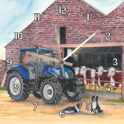 "No.27 new holland tracteur sue podbery handmade horloge murale 19.6cm 8/""//28.5cm 11/"""