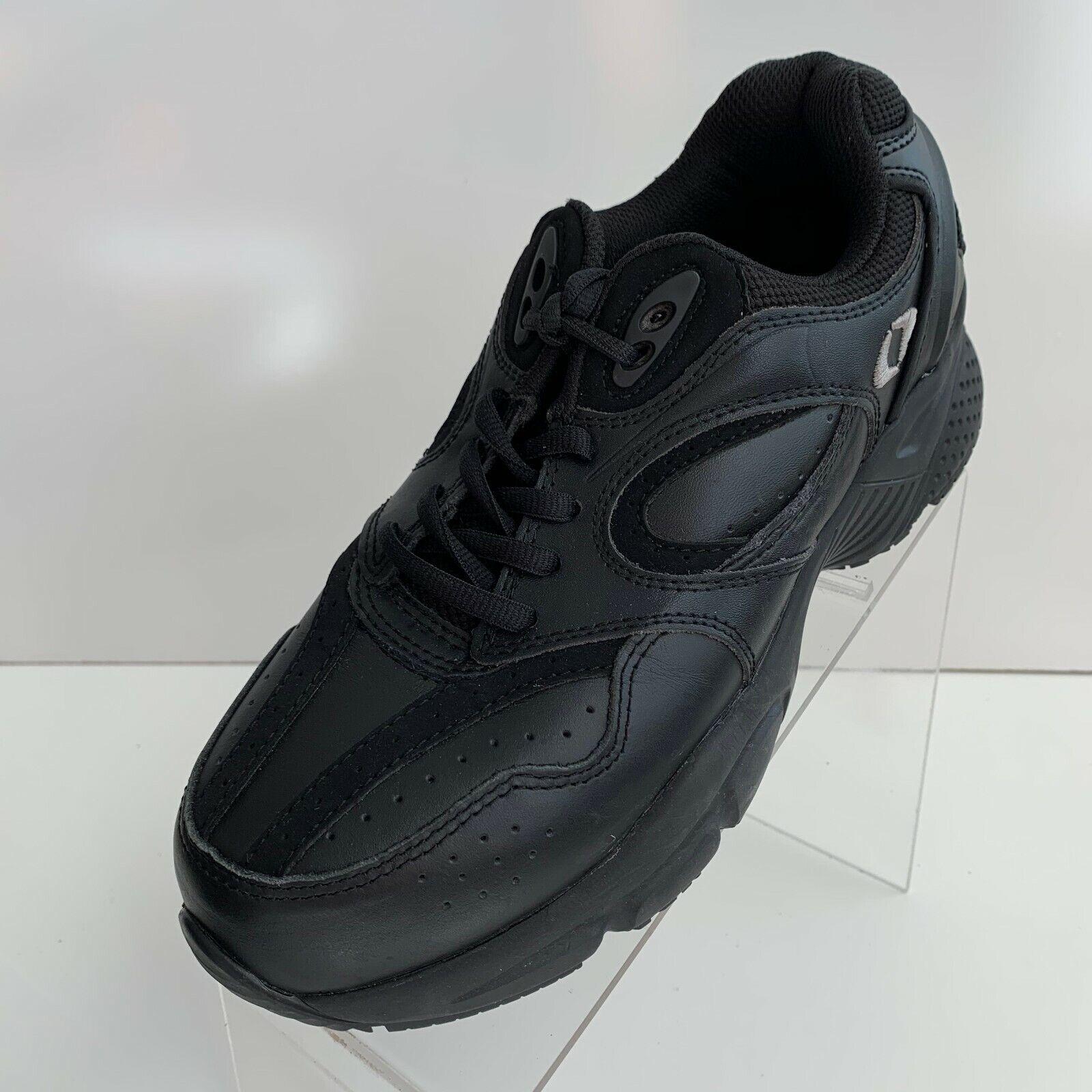 Apex Walker X801 Womens Walking Diabetic Black Leather Lace Up Shoes Size 8W