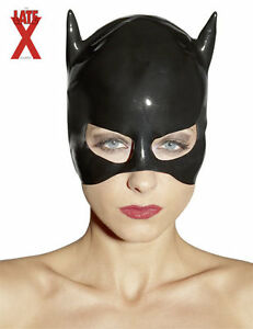 Maschera-in-lattice-nero-Latex-Cat-Mask-Black-Sexy-toys-Bondage-Fetish-erotic