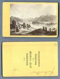 M-Furft-Autriche-Panorama-de-Villach-d-039-apres-un-dessin-vintage-carte-de
