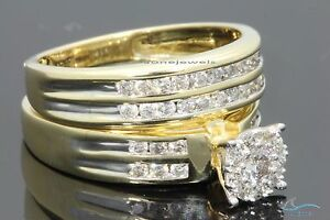 10K-Yellow-Gold-1-4-Carat-Womens-Diamond-Engagement-Ring-Wedding-Band-Bridal-Set