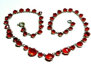 Antique-Art-Deco-Ruby-Red-Open-Back-Crystal-Bezel-Set-graduated-Riviere-necklace