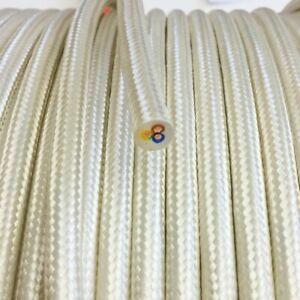 Textilkabel-Leitung-Textilfaser-umflochten-rund-champagner-3x0-75-H03VV