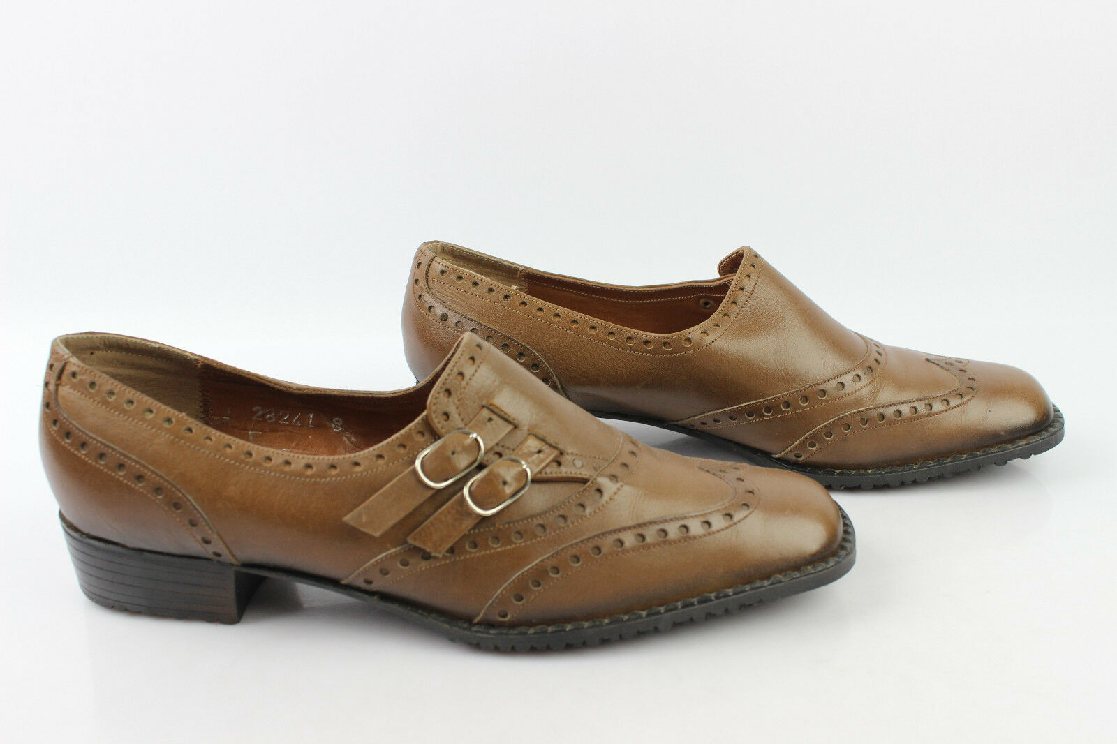 VINTAGE Derby Damenschuhe CHARLES GIRARD Made in France Cuir Marron T 40 TBE