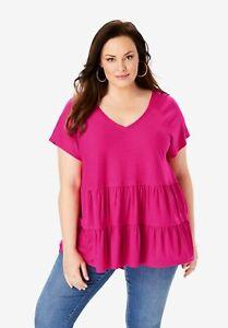 Roaman-039-s-Women-039-s-Plus-Size-Tiered-Slub-Tee-18-20-Vivid-Pink