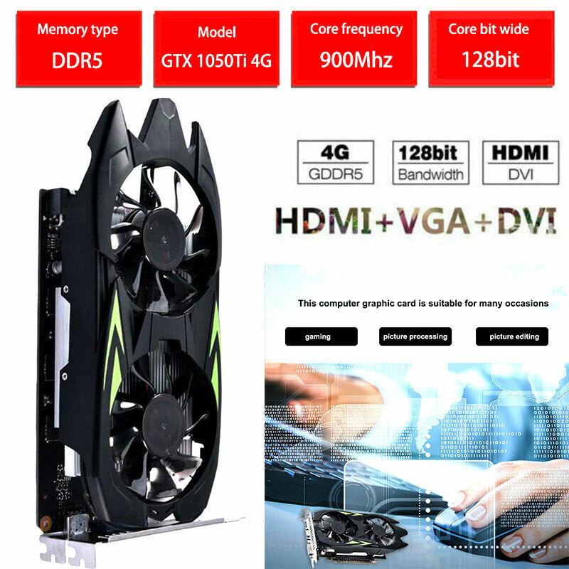 Professional GTX1050TI 4GB DDR5 128bit HDMI DVI VGA Desktop Graphics Card US
