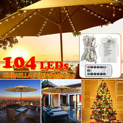 104 LED Lichterkette Für Sonnenschirm Beleuchtung Garten Ampelschirm Schirmkette