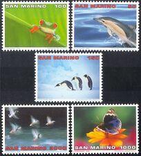 San Marino 1996 Dolphin/Penguins/Frog/Butterfly/Ducks/Nature/Wildlife 5v n43359