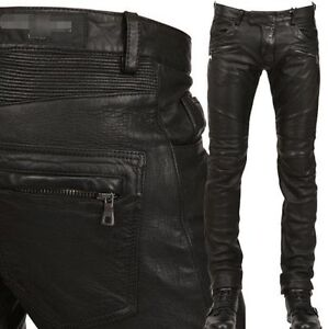 2018-mens-Punk-Rock-black-Leather-Motorcycle-Slim-Fit-leather-Pants-Trousers