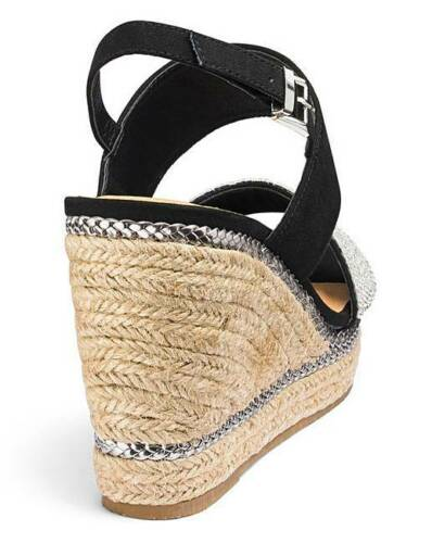 LADIES BLACK EXTRA WIDE FIT EEE WEDGES SANDALS OPEN-TOE SHOES SIZES 4-9