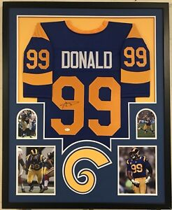 44c61d545 LOS ANGELES RAMS AARON DONALD SIGNED FRAMED THROWBACK CUSTOM JERSEY ...