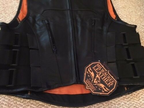 Men/'s Biker SWAT Style Leather Club Vest with Zipper Built in Gun Pockets