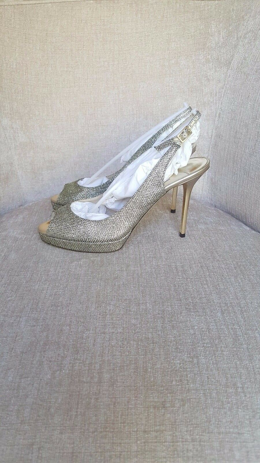 f7fc0f3806ba ... NIB Jimmy Bronze Choo Bronze Jimmy Lame Glitter  Nova  Pumps Authentic  MSRP 750 26ef78 ...