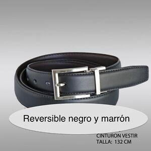 CINTURON DE PIEL REVERSIBLE NEGRO Y MARRÓN 132 CM CINTURON DE VESTIR REVERSIBLE