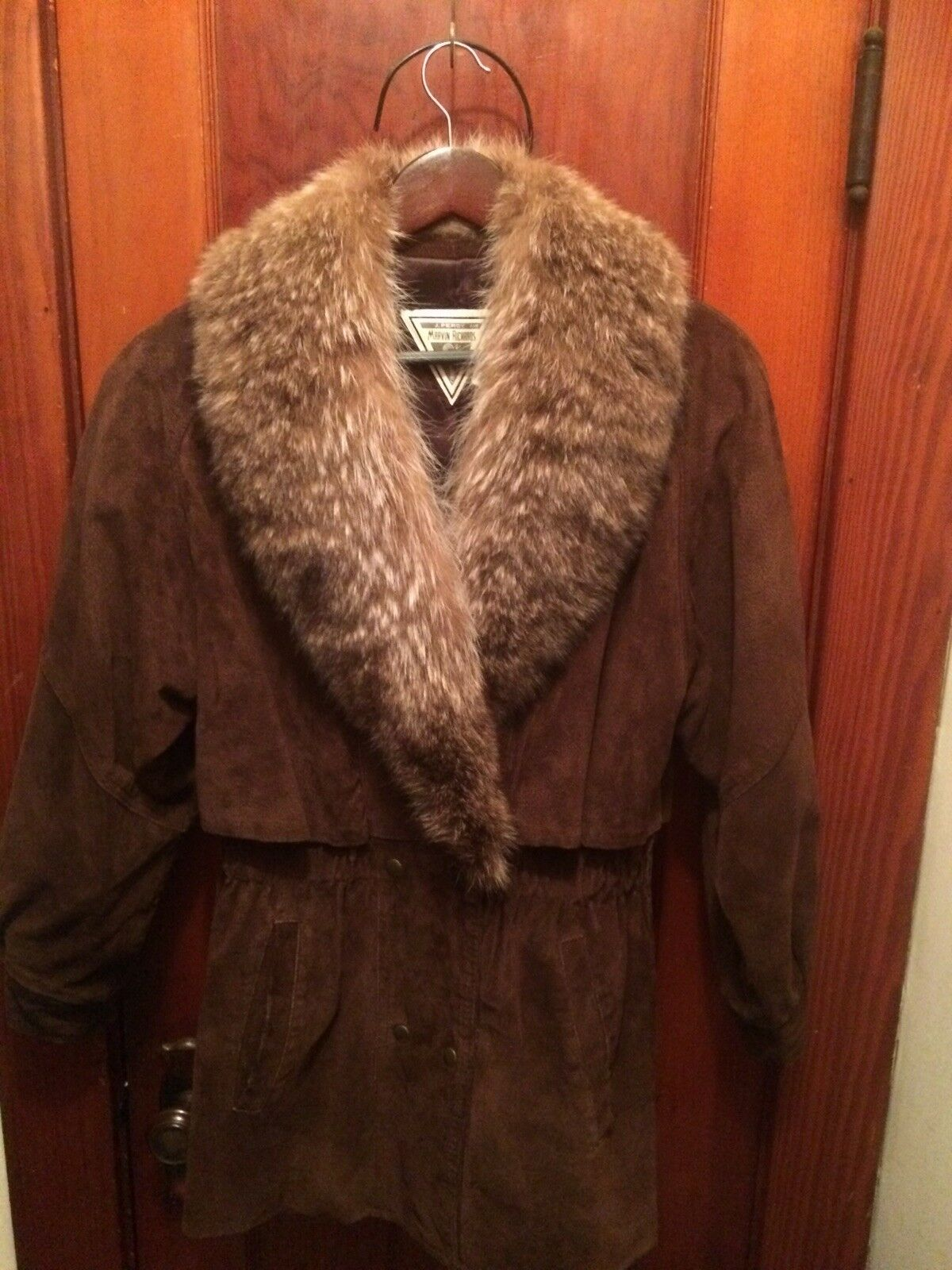 J Percy For Marvin Richards Leather Coat With Fur Trim Collar,