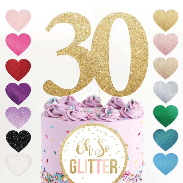 30 Cake Topper Number Any Age Birthday Glitter Rose Gold Thirty 21 40 50 30th