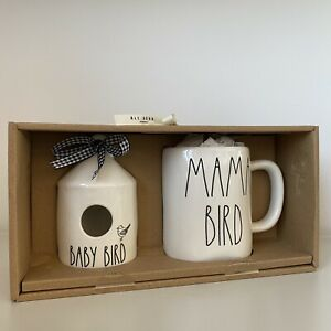 New-Rae-Dunn-Round-Mini-Baby-Bird-Birdhouse-amp-Mama-Bird-Mug-Set-Of-2