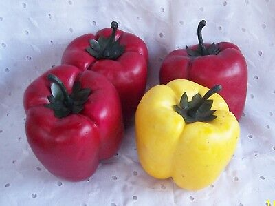 Red Yellow Bell Peppers 4 Pc Real Like Home Kitchen Decor Props Ebay