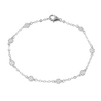 925 STERLING SILVER LOVE BEADED ELASTIC  BRACELET W// .75 CT LAB DIAMOND// 8/'/'