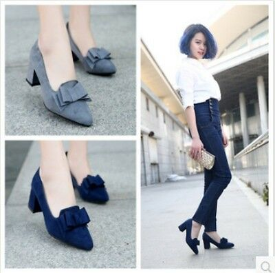 New Fashion Ladies Bow-Knot Pointy Toe Pumps Kitten Heels Formal Working Shoes