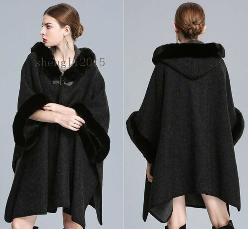 Fur Hooded New Fashion Coat uld Rabbit Jacket Poncho Shaw Loose Cape Cashmere PRRBpq45