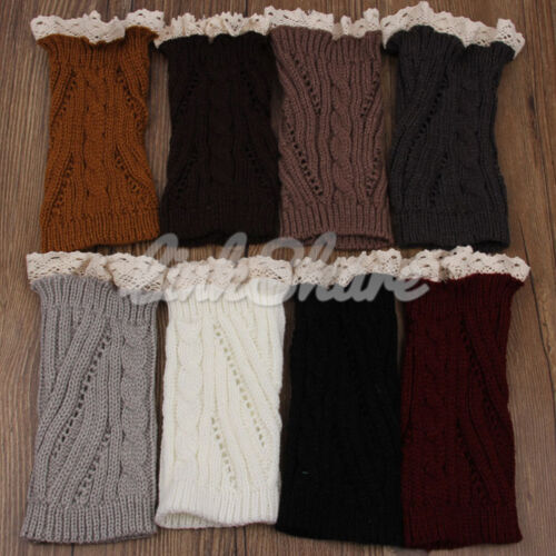 TX LOCAL Women Winter Leg Warmers Lace Crochet Knit Boot Socks Toppers Cuffs