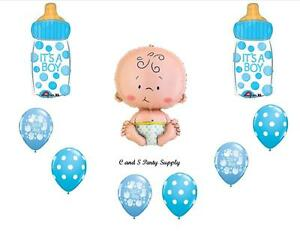 Baby boy bottle balloons decorations supplies shower for Welcome home new baby decorations