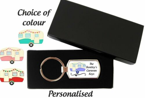 Personalised Caravan  Metal Keyring Key Ring With Gift Box  Fathers Mothers Day