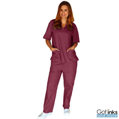 Unisex Men//Women Natural Uniforms Medical Hospital Nursing Scrub Set Top /& Pants