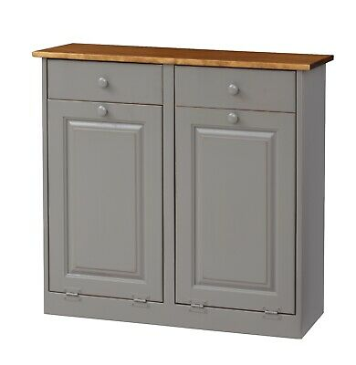Amish Made Solid Unfinished Poplar Double Trash Bin Cabinet With