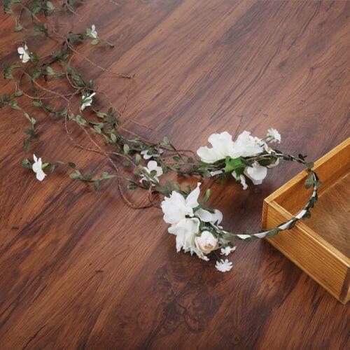 Adjustable Boho Women/'s Flower Headband Crown Wedding Long Garland Hair Wreath