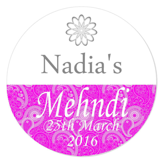 24 personalised mehndi wedding engagement stickers paisley henna quality gloss