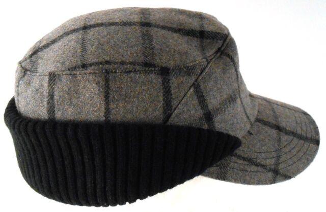 London Fog Gray Black Plaid Wool Blend Knit Ear Flaps Hat Size L / XL