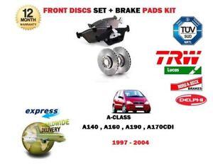 Per-MERCEDES-A140-A160-A170-CDI-1997-2004-Dischi-Freno-Anteriore-Ventilati-Set-Pad-Kit