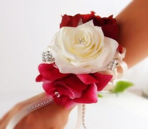 Wrist Corsage-fuschia Ivory Apple Red Wedding Bridal Prom Military ...